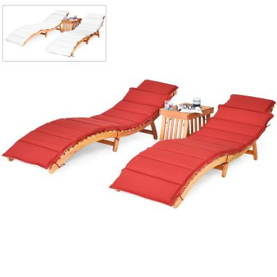 Natural Eucalyptus Wood Outdoor Folding Lounge Chair Table Set with Red/White Cushion