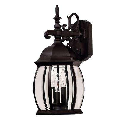 3-Light Black Wall Mount Lantern with Clear Beveled Glass