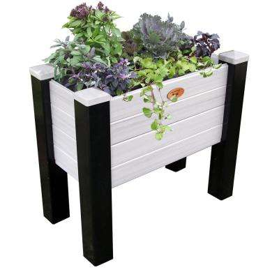 18 in. x 36 in. x 32 in. Maintenance Free Black and Gray Vinyl Elevated Garden Bed