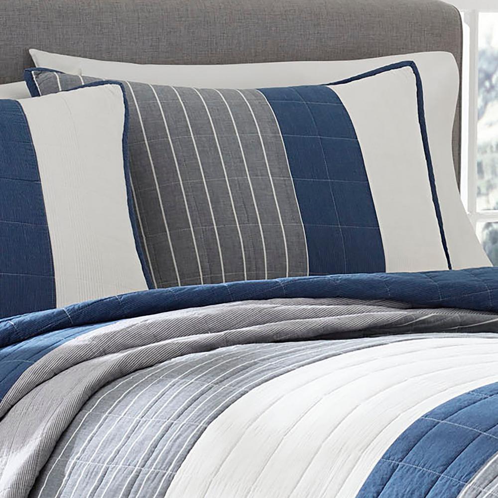 Swale Dark Blue Striped Cotton Quilt