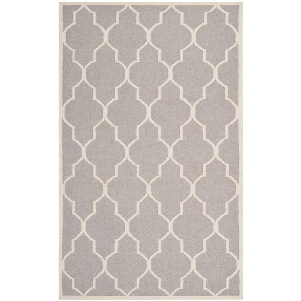 Dhurries Dark Grey/Ivory 4 ft. x 6 ft. Area Rug