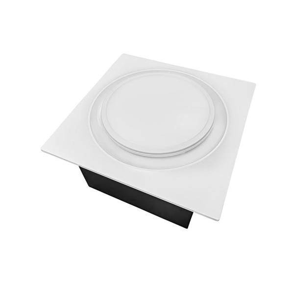 Quiet Adjustable Speed 50-110 CFM Bathroom Exhaust Fan with Humidity Sensor & LED Light Ceiling Mount ENERGY STAR White