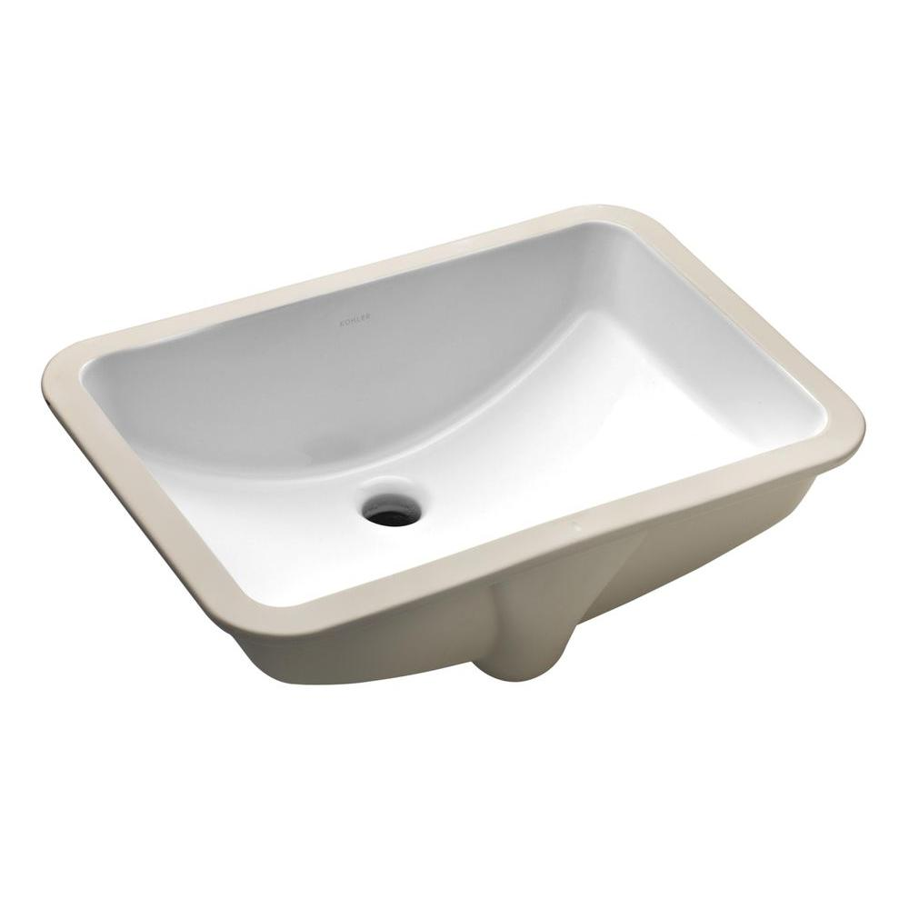 Undermount Bathroom Sink In White With Overflow Drain
