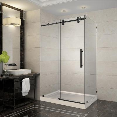 Langham 48 in. x 35 in. x 77.5 in. Completely Frameless Sliding Shower Enclosure in Oil Rubbed Bronze with Left Base