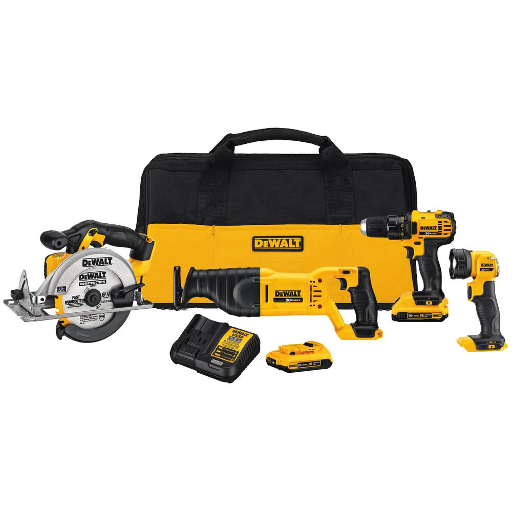 DEWALT 20-Volt MAX Lithium-Ion Cordless Combo Kit (4-Tool) with (2) Batteries 2Ah, Charger and Tool Bag