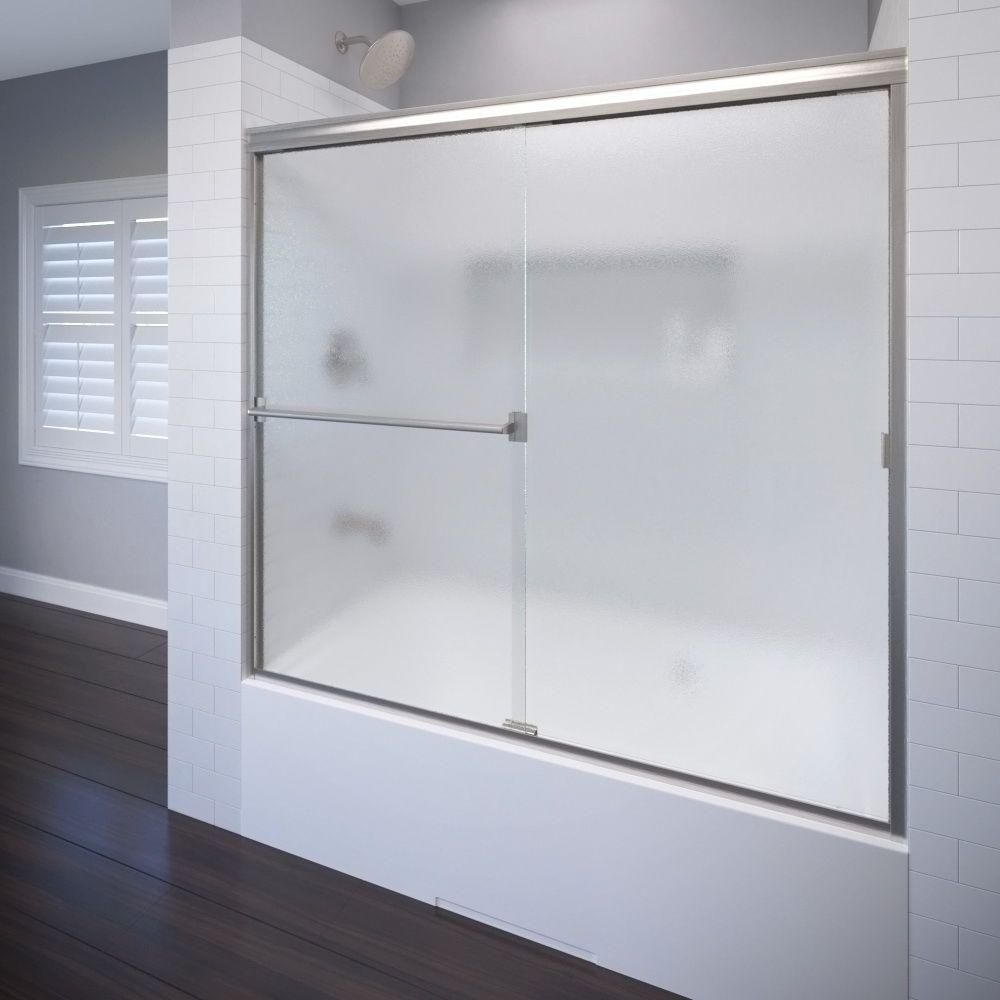 Classic 60 in. x 57 in. Obscure Semi-Framed Sliding Door in