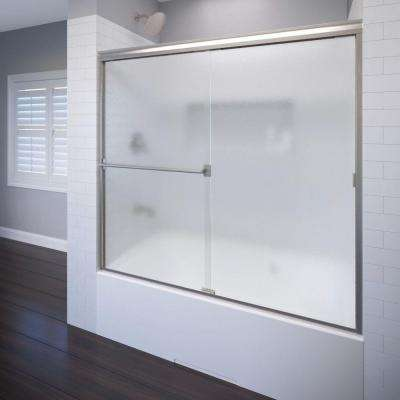 Classic 60 in. x 57 in. Obscure Semi-Framed Sliding Door in Brushed Nickel