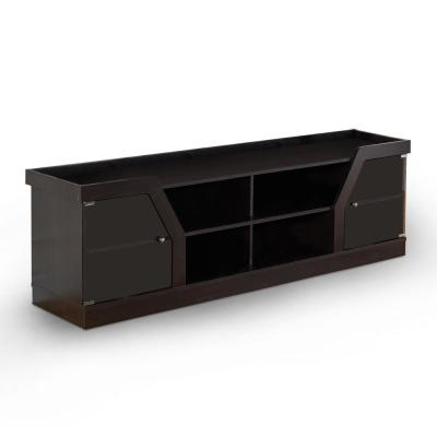 Olenve 71 in. Espresso Particle Board TV Stand Fits TVs Up to 70 in. with Storage Doors