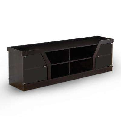 Olenve 71 in. Espresso Particle Board TV Console Fits TVs Up to 70 in. with Storage Doors