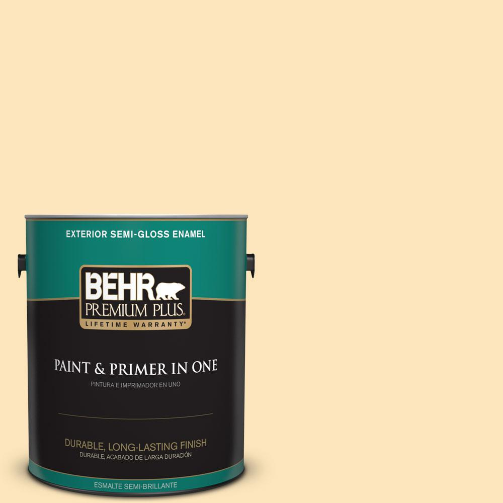 1-gal. #350C-2 Banana Cream Semi-Gloss Enamel Exterior Paint