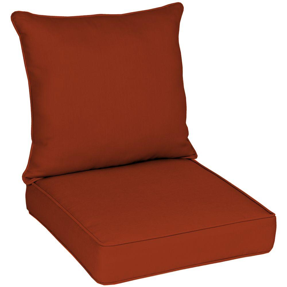 Hampton Bay Reversible Chili Red Solid Quick Dry Pillow Back Outdoor Deep Seating Cushion