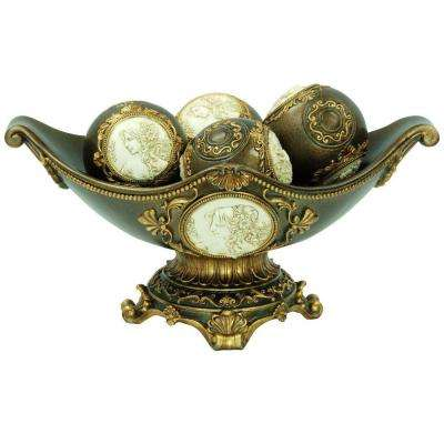 8 in. H Handcrafted Bronze Decorative Bowl with Decorative Spheres
