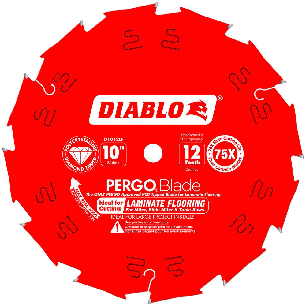 DIABLO 10 in. x 12-Tooth Polycrystalline Diamond (PCD) Tipped Ultimate Flooring Blade