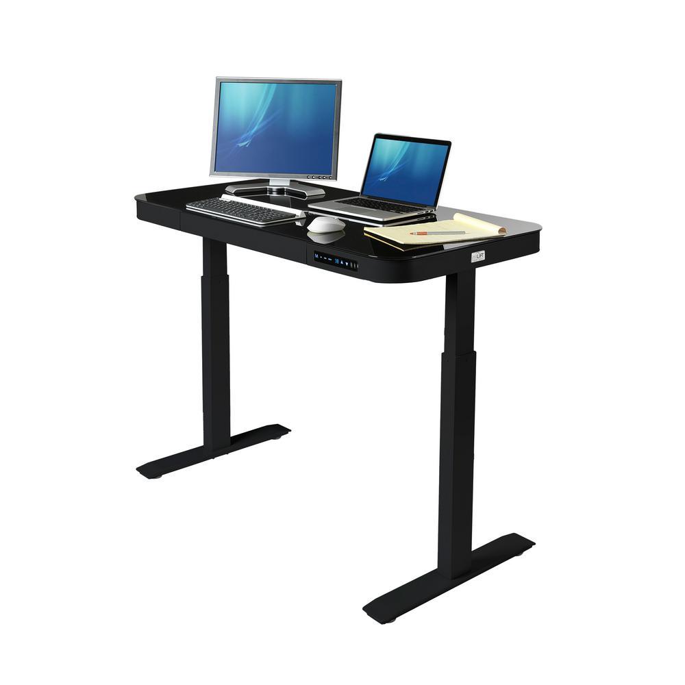 47.6 in. Black Rectangular 1 -Drawer Standing Desk with Adjustable Height