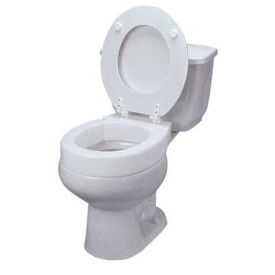 Elongated Hinged Elevated Toilet Seat in White