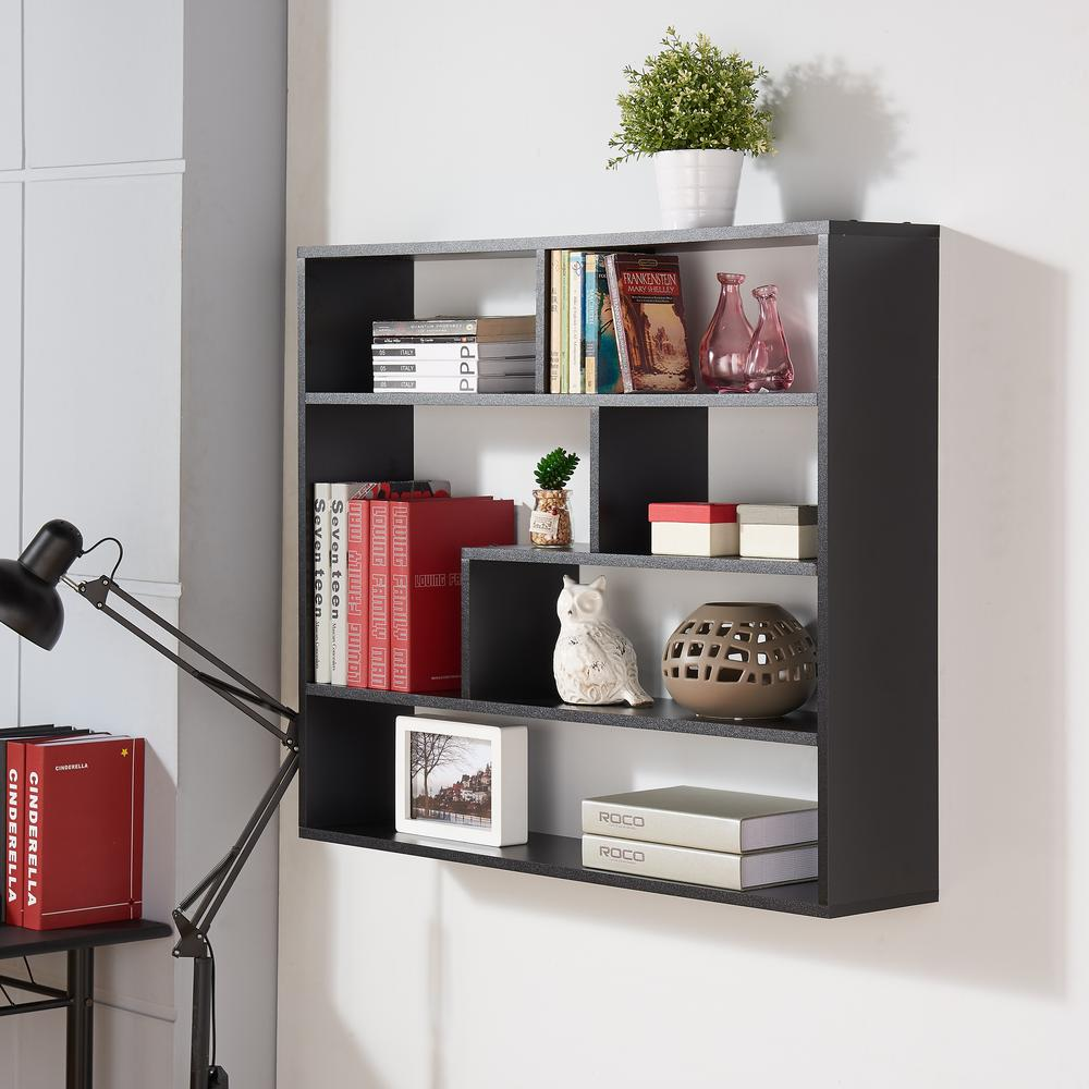 Danya b 45 in x 51 in black laminate five level black asymmetric black laminated rectangular floating wall shelf amipublicfo Gallery