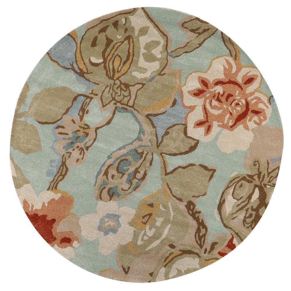 Home Decorators Collection Balcony Seafoam 5 ft. 9 inch x 5 ft. 9 inch Round Area Rug by Home Decorators Collection