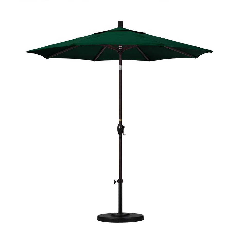 7.5 ft. Bronze Aluminum Pole Market Aluminum Ribs Push Tilt Crank Lift Patio Umbrella in Forest Green Sunbrella