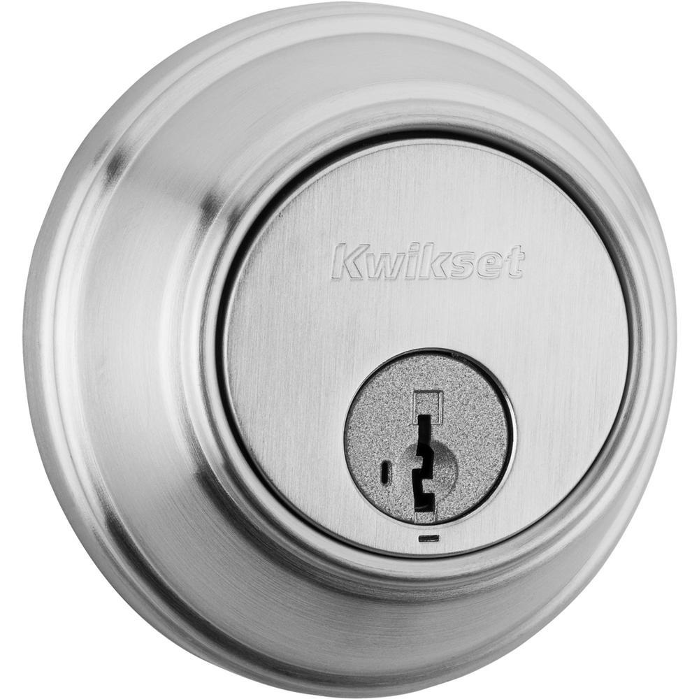 816 Series Satin Chrome Single Cylinder Key Control Deadbolt Featuring SmartKey Security