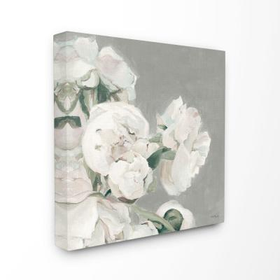 """24 in. x 24 in. """"Beautiful Large Flowers Neutral Grey Painting"""" by Marilyn Hageman Canvas Wall Art"""