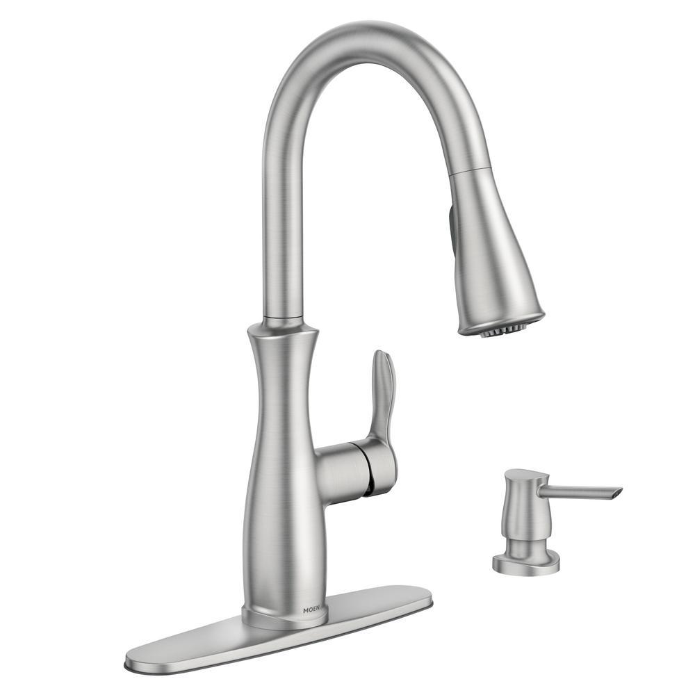 MOEN Aberdeen Single-Handle Pull-Down Sprayer Kitchen Faucet ...