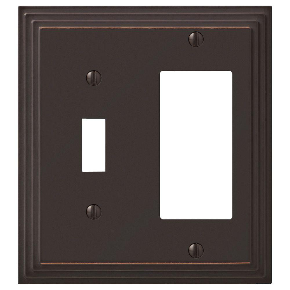 AMERELLE Tiered 2 Gang 1-Toggle and 1-Rocker Metal Wall Plate - Aged Bronze