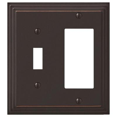 Tiered 2 Gang 1-Toggle and 1-Rocker Metal Wall Plate - Aged Bronze