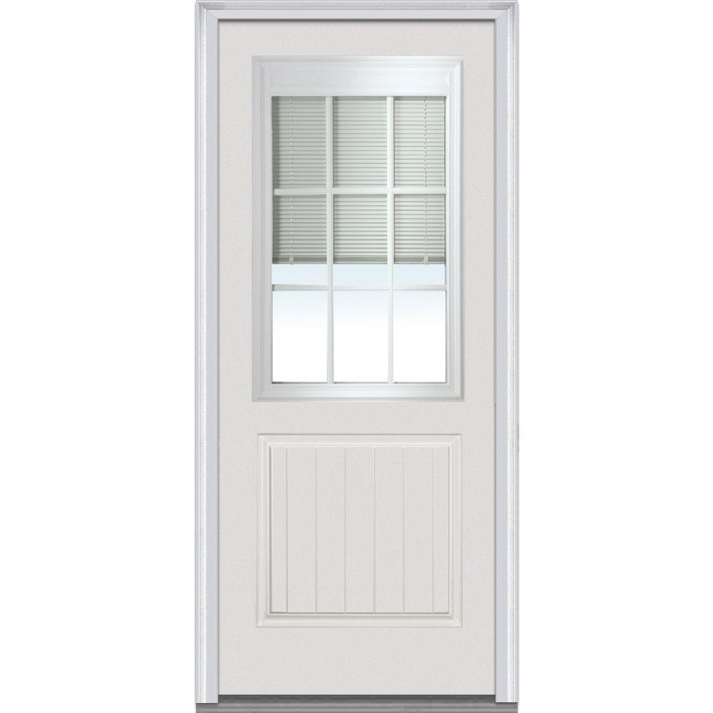 Mmi door 32 in x 80 in rlb right hand 1 2 lite 2 planked for Glass door in front of exterior door