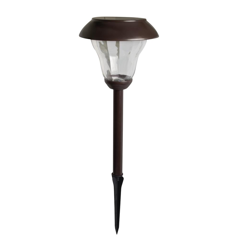 Moonrays Princeton-Style Solar Powered 30-Lumen Brown Metal Outdoor Integrated LED Landscape Path Light (2-Pack)