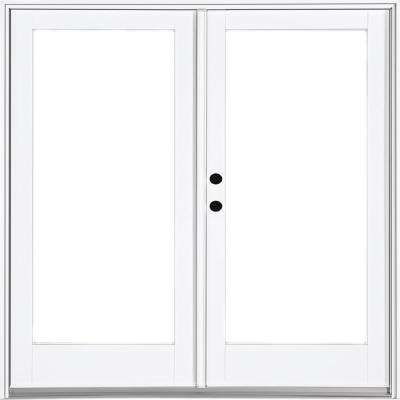 72 in. x 80 in. Fiberglass Smooth White Right-Hand Inswing Hinged Patio Door