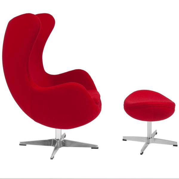 Red Fabric Chair and Ottoman Set