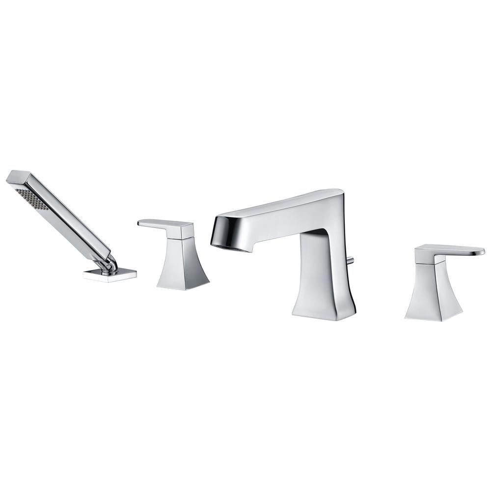 Cove Series 2 Handle Deck Mount Roman Tub Faucet With Handheld Sprayer In