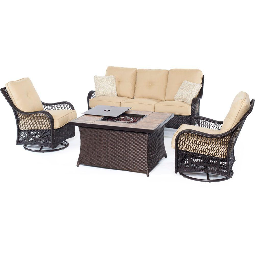 Hanover Orleans Brown 4 Piece All Weather Wicker Patio Fire Pit Seating Set  With