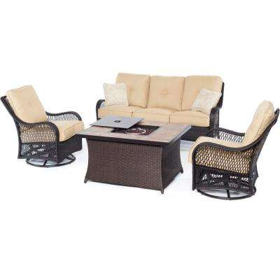 Orleans Brown 4-Piece All-Weather Wicker Patio Fire Pit Seating Set with Sahara Sand Cushions