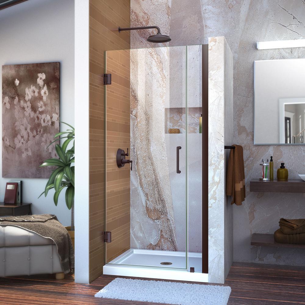 DreamLine Unidoor 33 to 34 in. x 72 in. Semi-Framed Hinged Shower Door in Oil Rubbed Bronze