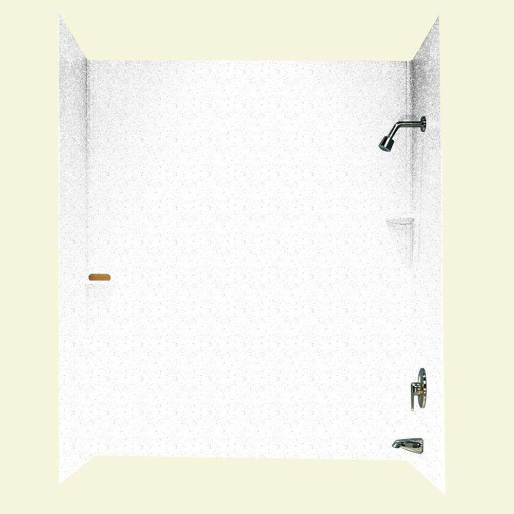 Swan 30 in. x 60 in. x 72 in. Three Piece Easy Up Adhesive Tub Wall in Arctic Granite-DISCONTINUED
