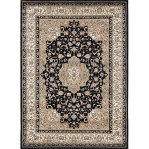 Home Dynamix Bazaar Trim Black/Ivory 7 ft. 10 inch x 10 ft. 1 inch Indoor Area Rug by Home Dynamix