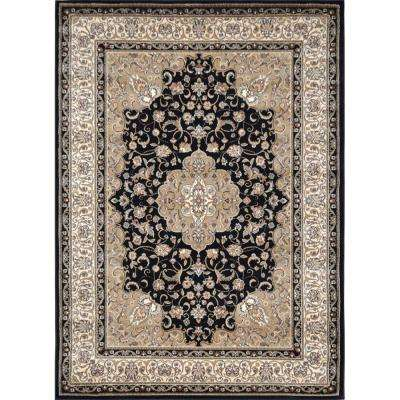 Bazaar Trim Black/Ivory 8 ft. x 10 ft. Indoor Area Rug