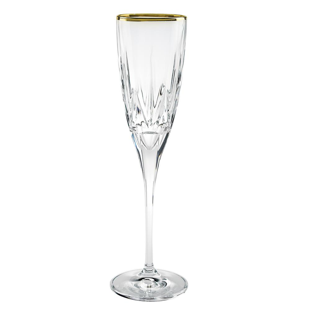 Chic Flute Goblets with 24K Gold Trim By Lorren Home Trends