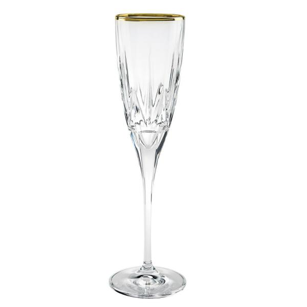 Lorren Home Trends Chic Flute Goblets with 24K Gold Trim By