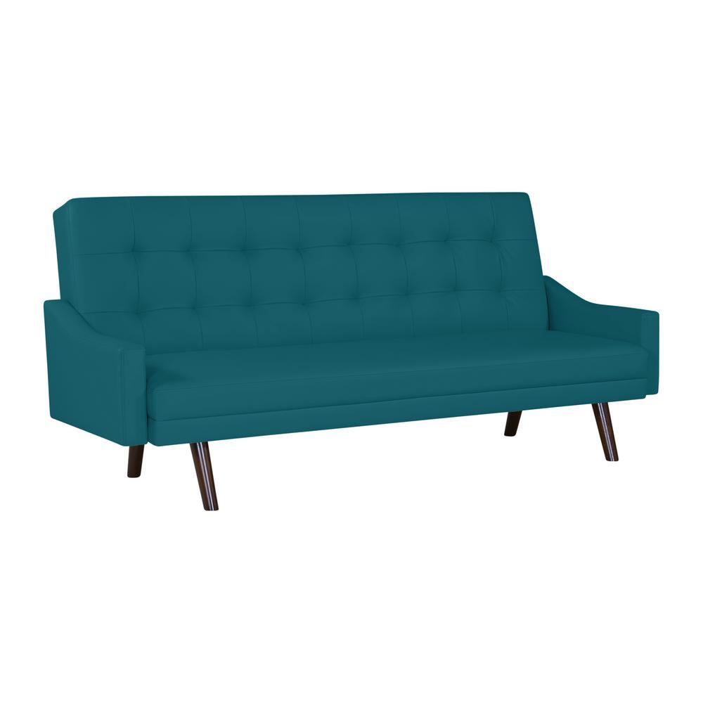 Handy Living Oakland Caribbean Blue Polyurethane Click Clack Futon Sofa Bed