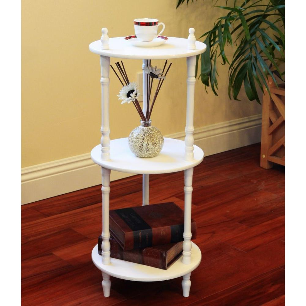 WHITE END TABLE Garage Storage Shelves Corner Stand Classic Victorian  Inspired