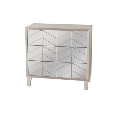 32.5 in. 3-Drawers Silver Wood Cabinet