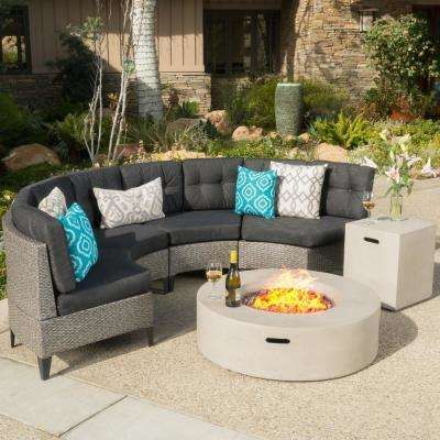 Navagio Mixed Black 6-Piece Wicker Patio Fire Pit Sectional Seating Set with Dark Gray Cushions