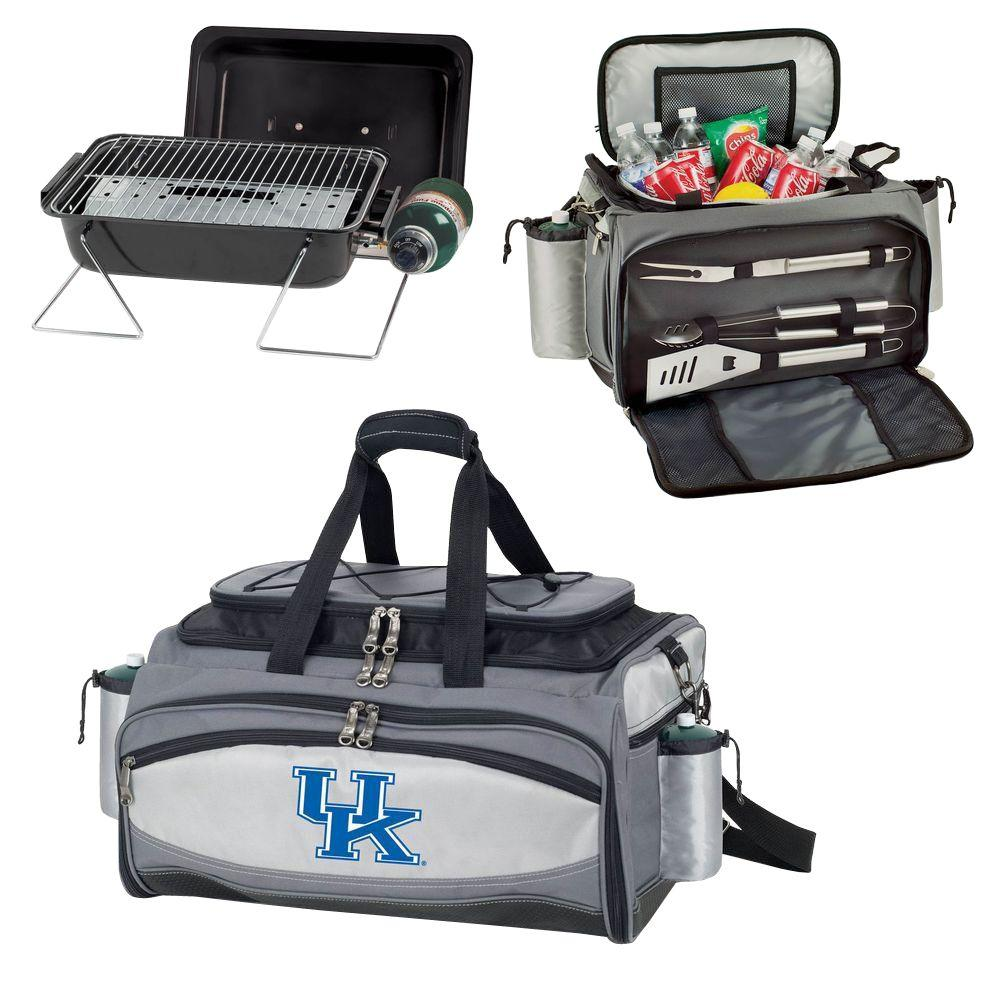 Picnic Time Kentucky Wildcats - Vulcan Portable Propane Grill and Cooler Tote by Digital Logo, Black/Gray