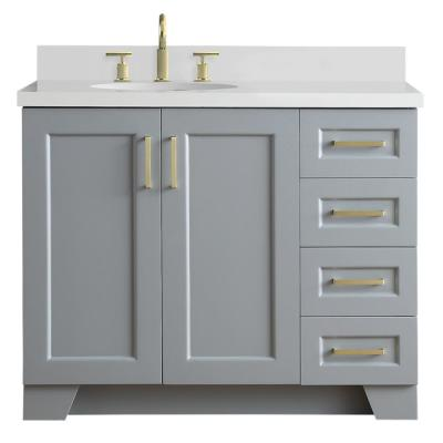 Taylor 43 in. W x 22 in. D Bath Vanity in Grey with Quartz Vanity Top in White with Left Offset White Oval Basin