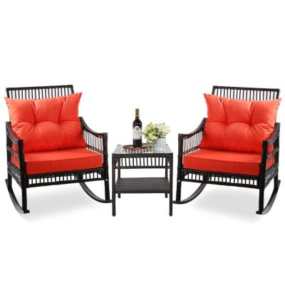 Dark Brown 3-Piece Patio Wicker Outdoor Rocking Chair Set with Orange Cushions and Pillows