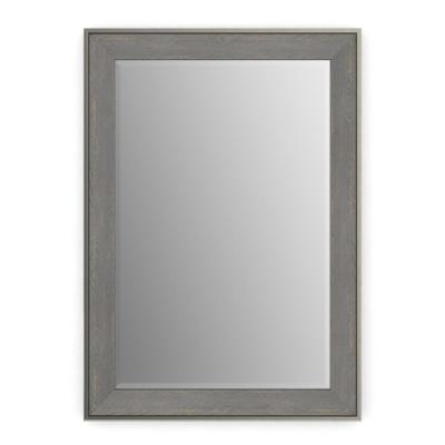 29 in. x 41 in. (M3) Rectangular Framed Mirror with Deluxe Glass and Flush Mount Hardware in Weathered Wood