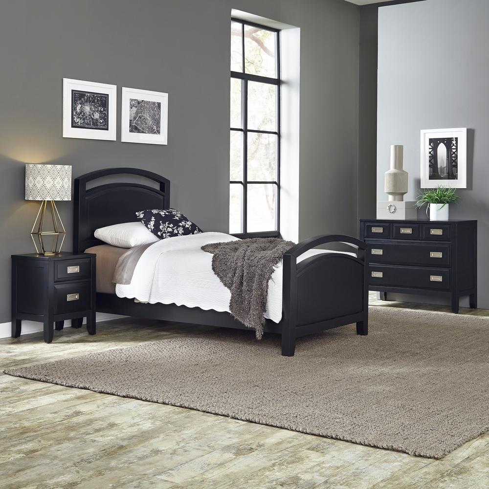 Home styles prescott 3 piece black twin bedroom set 5514 for Home styles bedroom furniture