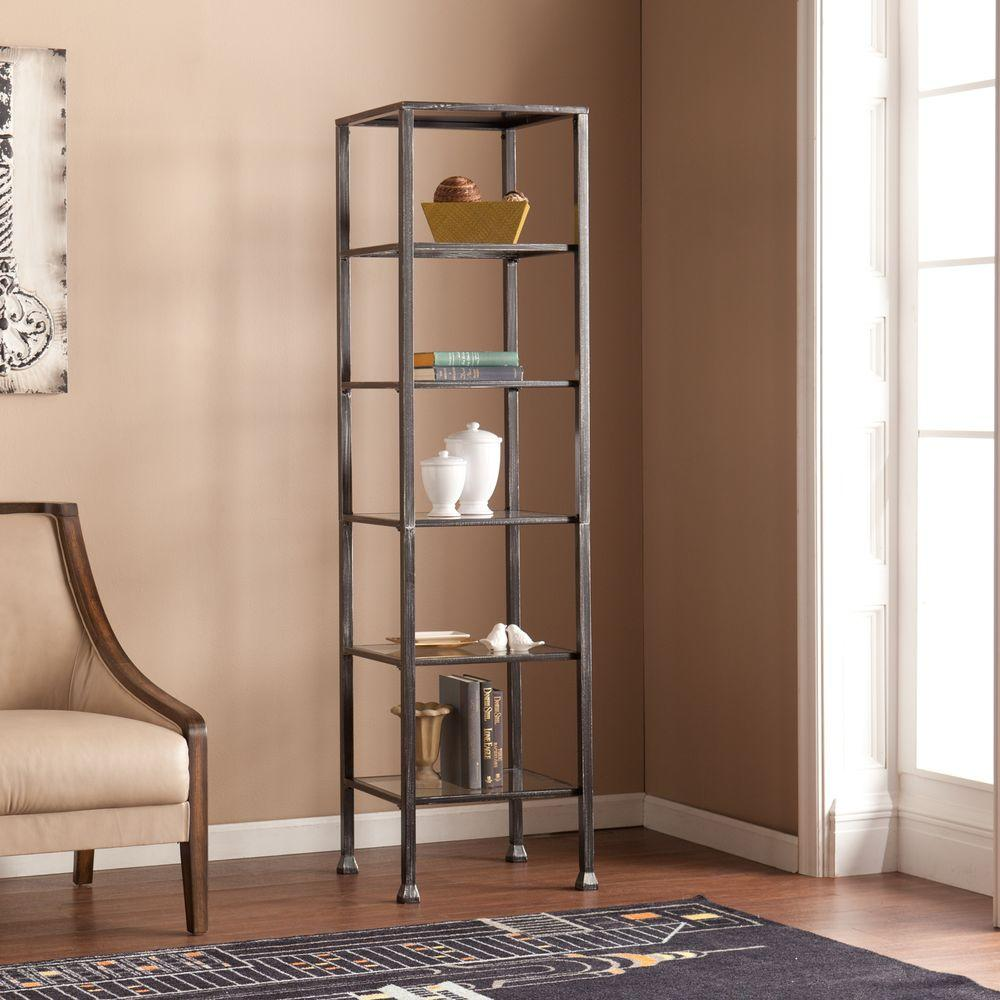 Southern Enterprises Marten 5 Shelf Metal And Glass Tower